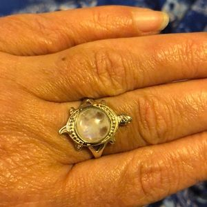 Rainbow Moonstone Solid 925 Silver Turtle Ring